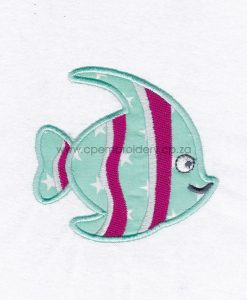 striped moorish idol pet fish cute friendly simple smiling applique machine embroidery design pattern for machines