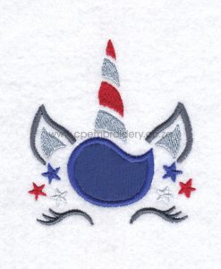 stars six red white blue fourth 4th of july independence day unicorn head applique embroidery design pattern for machines